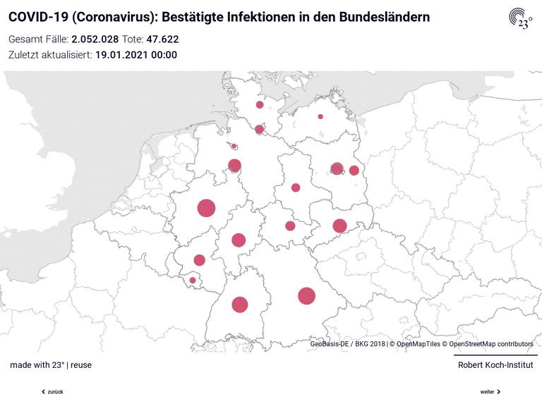 COVID-19 (Coronavirus) Deutschland Bubblemap: Gesamt Fälle und Fälle pro 100.000 Einwohner in den Bundesländern