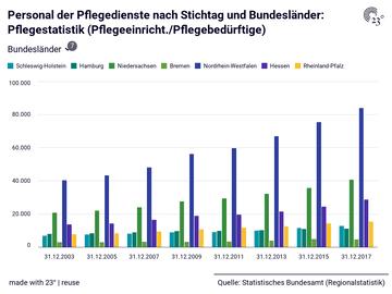 Personal der Pflegedienste nach Stichtag und Bundesländer: Pflegestatistik (Pflegeeinricht./Pflegebedürftige)