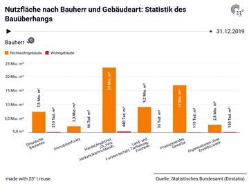 Nutzfläche nach Bauherr und Gebäudeart: Statistik des Bauüberhangs