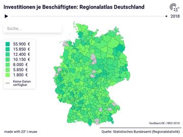 Investitionen je Beschäftigten: Regionalatlas Deutschland