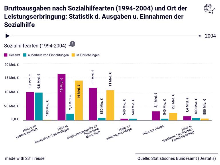 Bruttoausgaben nach Sozialhilfearten (1994-2004) und Ort der Leistungserbringung: Statistik d. Ausgaben u. Einnahmen der Sozialhilfe