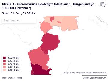 COVID-19 (Coronavirus): Bestätigte Infektionen - Burgenland (je 100.000 Einwohner)
