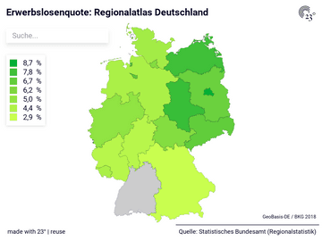 Erwerbslosenquote: Regionalatlas Deutschland