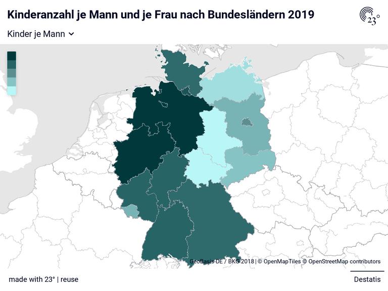 Kinderanzahl je Mann und je Frau nach Bundesländern 2019