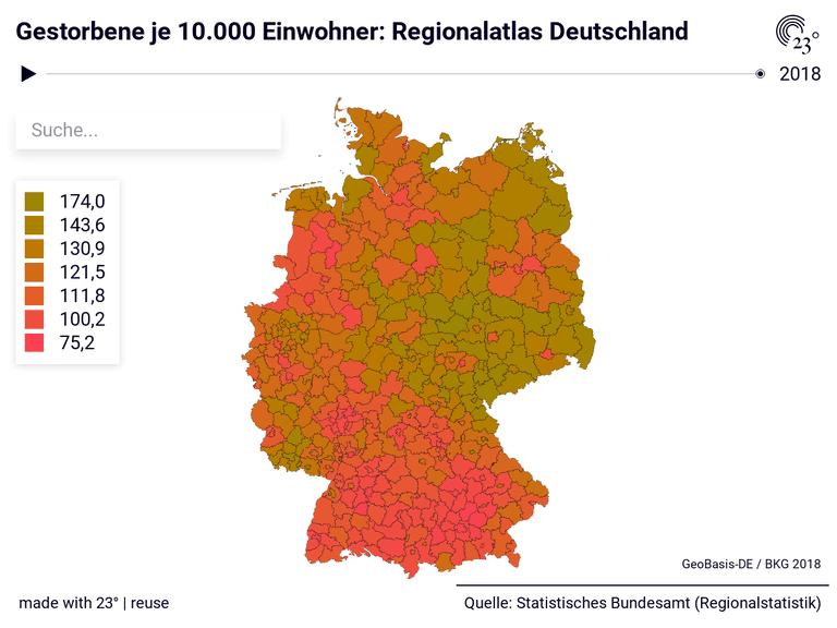 Gestorbene je 10.000 Einwohner: Regionalatlas Deutschland