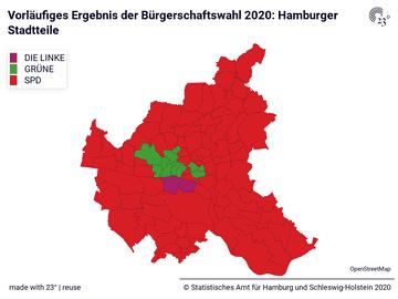 Vorläufiges Ergebnis der Bürgerschaftswahl 2020: Hamburger Stadtteile