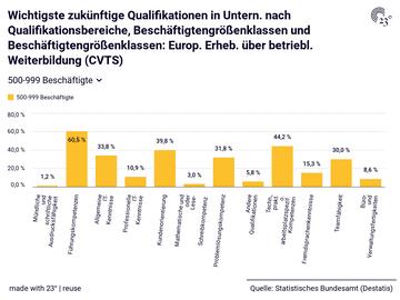 Wichtigste zukünftige Qualifikationen in Untern. nach Qualifikationsbereiche, Beschäftigtengrößenklassen und Beschäftigtengrößenklassen: Europ. Erheb. über betriebl. Weiterbildung (CVTS)