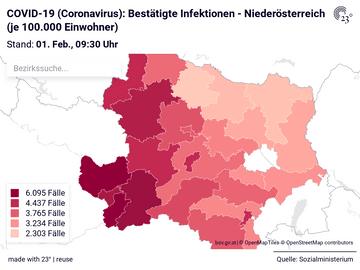 COVID-19 (Coronavirus): Bestätigte Infektionen - Niederösterreich (je 100.000 Einwohner)