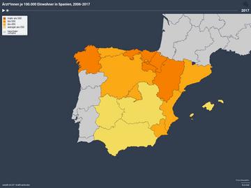 Ärzt*innen je 100.000 Einwohner in Spanien, 2006-2017