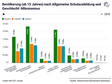 Bevölkerung (ab 15 Jahren) nach Allgemeine Schulausbildung und Geschlecht: Mikrozensus