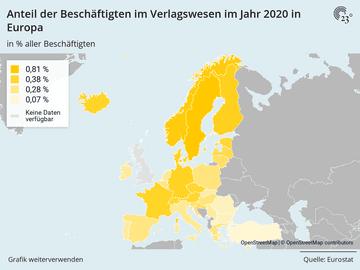 Anteil der Beschäftigten im Verlagswesen im Jahr 2020 in Europa