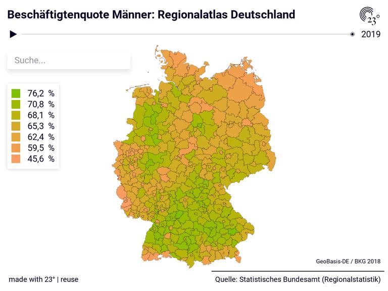 Beschäftigtenquote Männer: Regionalatlas Deutschland