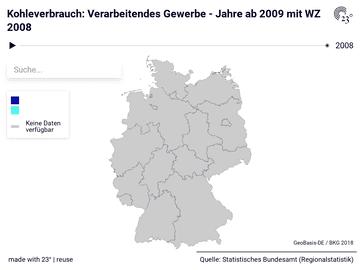Kohleverbrauch: Verarbeitendes Gewerbe - Jahre ab 2009 mit WZ 2008