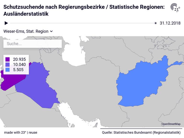 Schutzsuchende nach Regierungsbezirke / Statistische Regionen: Ausländerstatistik