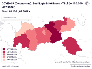 COVID-19 (Coronavirus): Bestätigte Infektionen - Tirol (je 100.000 Einwohner)