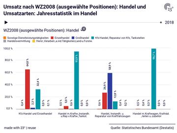 Umsatz nach WZ2008 (ausgewählte Positionen): Handel und Umsatzarten: Jahresstatistik im Handel