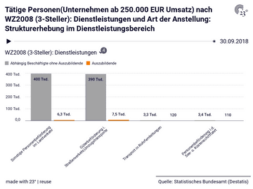 Tätige Personen(Unternehmen ab 250.000 EUR Umsatz) nach WZ2008 (3-Steller): Dienstleistungen und Art der Anstellung: Strukturerhebung im Dienstleistungsbereich