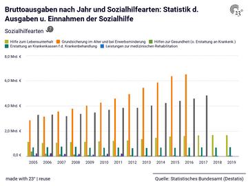 Bruttoausgaben nach Jahr und Sozialhilfearten: Statistik d. Ausgaben u. Einnahmen der Sozialhilfe