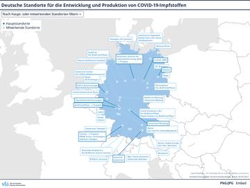 Deutsche Standorte für die Entwicklung und Produktion von COVID-19-Impfstoffen
