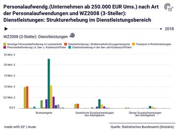 Personalaufwendg.(Unternehmen ab 250.000 EUR Ums.) nach Art der Personalaufwendungen und WZ2008 (3-Steller): Dienstleistungen: Strukturerhebung im Dienstleistungsbereich