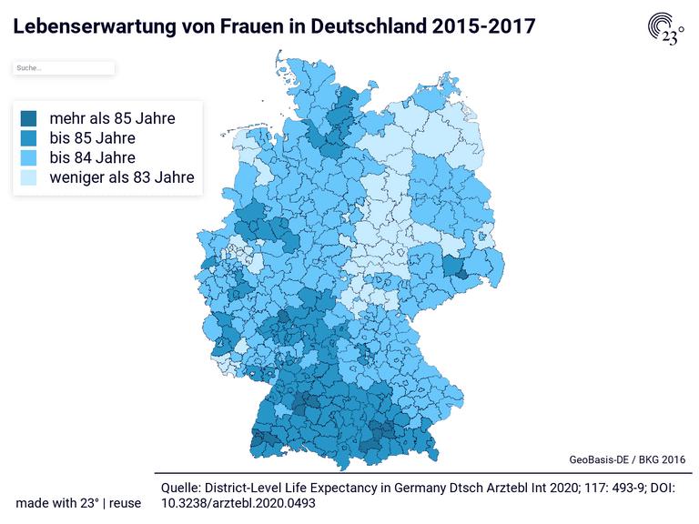 Lebenserwartung von Frauen in Deutschland 2015-2017