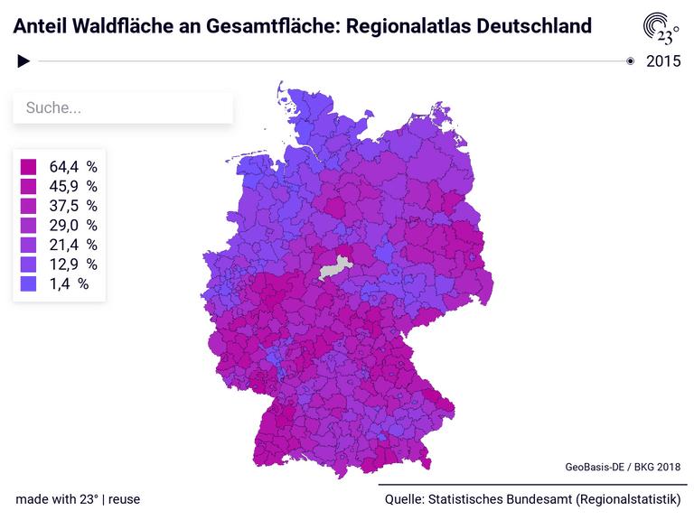 Anteil Waldfläche an Gesamtfläche: Regionalatlas Deutschland