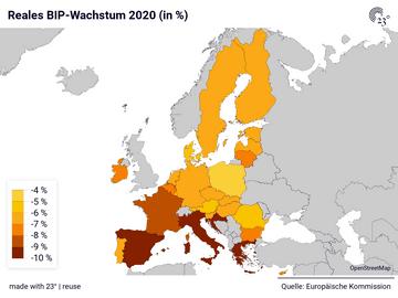 Reales BIP-Wachstum 2020 (in %)
