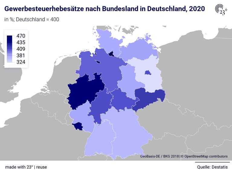 Gewerbesteuerhebesätze nach Bundesland in Deutschland, 2020