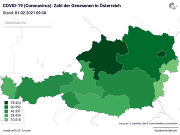 COVID-19 (Coronavirus): Zahl der Gensenen in Österreich