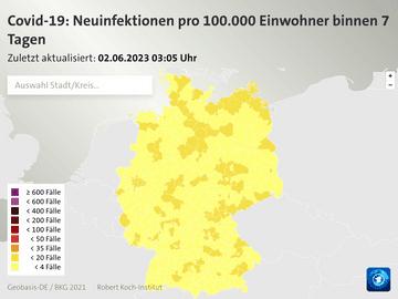 Covid-19: Neuinfektionen pro 100.000 Einwohner binnen 7 Tagen
