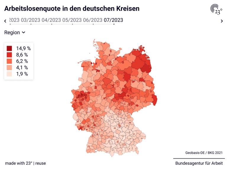 Arbeitslosenquote in den deutschen Kreisen