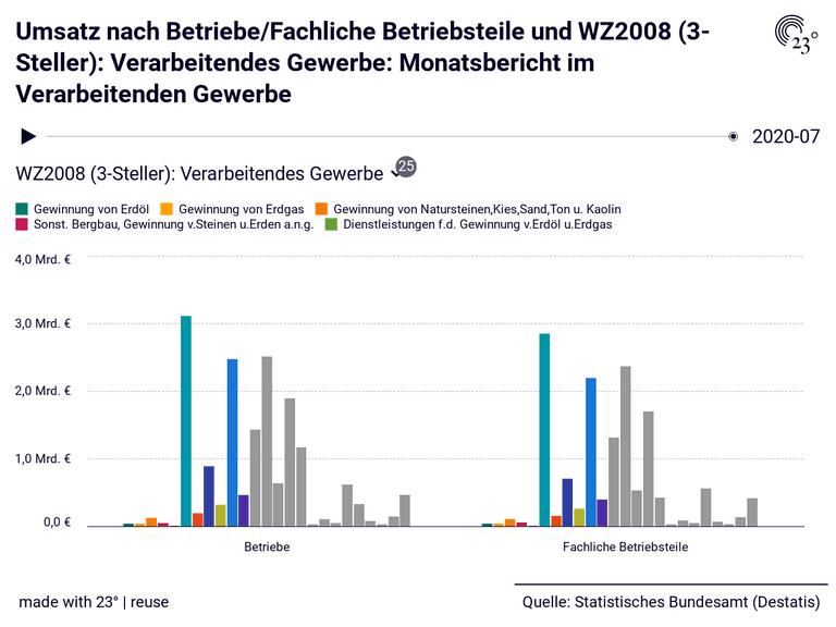 Umsatz nach Betriebe/Fachliche Betriebsteile und WZ2008 (3-Steller): Verarbeitendes Gewerbe: Monatsbericht im Verarbeitenden Gewerbe