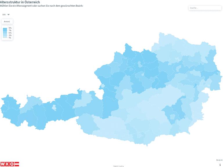 Altersstruktur in Österreich