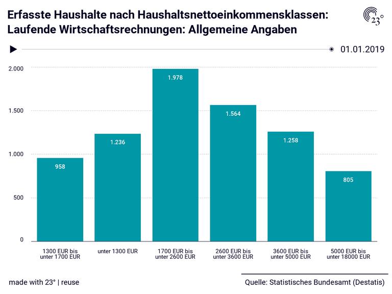 Erfasste Haushalte nach Haushaltsnettoeinkommensklassen: Laufende Wirtschaftsrechnungen: Allgemeine Angaben