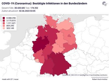 COVID-19 (Coronavirus): Bestätigte Infektionen in den Bundesländern