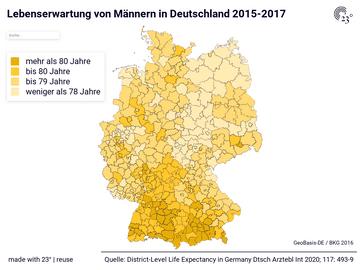 Lebenserwartung von Männern in Deutschland 2015-2017
