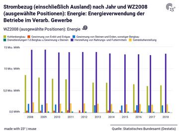 Strombezug (einschließlich Ausland) nach Jahr und WZ2008 (ausgewählte Positionen): Energie: Energieverwendung der Betriebe im Verarb. Gewerbe
