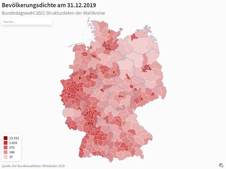 Bevölkerungsdichte am 31.12.2019
