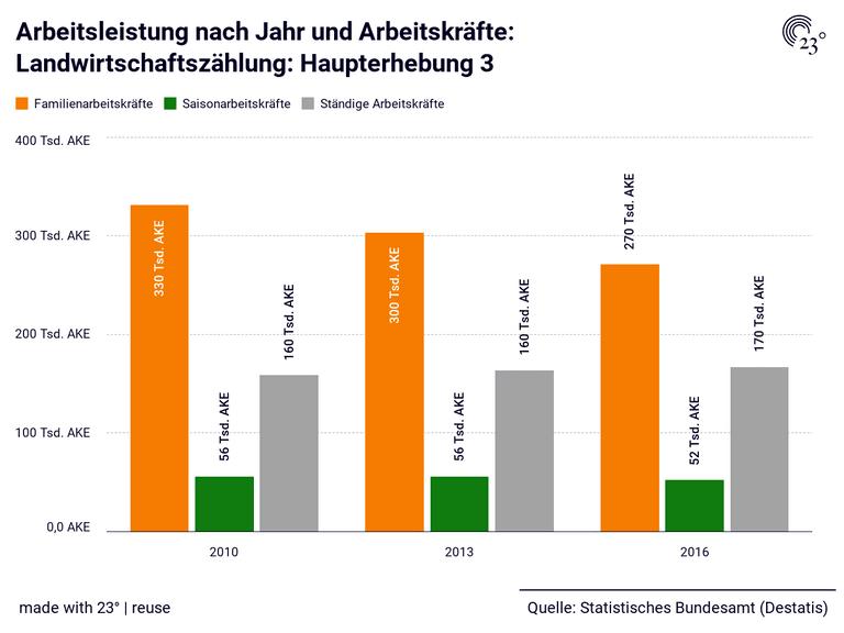 Arbeitsleistung nach Jahr und Arbeitskräfte: Landwirtschaftszählung: Haupterhebung 3
