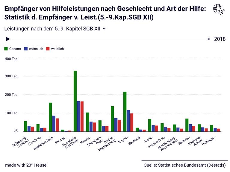 Empfänger von Hilfeleistungen nach Geschlecht und Art der Hilfe: Statistik d. Empfänger v. Leist.(5.-9.Kap.SGB XII)