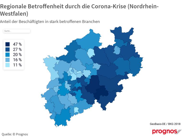Regionale Betroffenheit durch die Corona-Krise (Nordrhein-Westfalen)