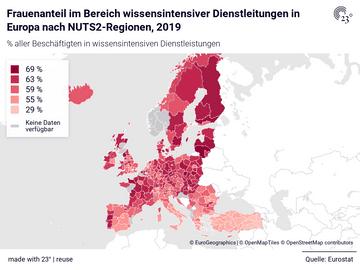 Frauenanteil im Bereich wissensintensiver Dienstleitungen in Europa nach NUTS2-Regionen, 2019