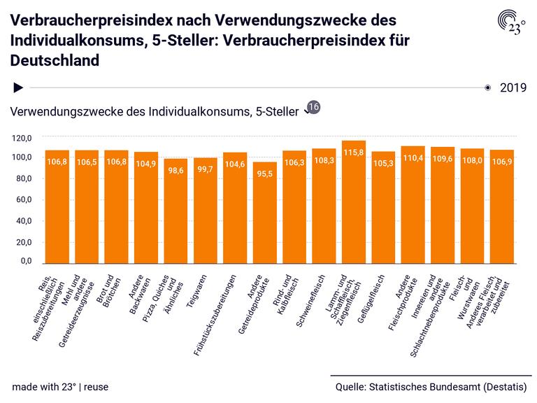 Verbraucherpreisindex nach Verwendungszwecke des Individualkonsums, 5-Steller: Verbraucherpreisindex für Deutschland