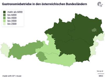 Gastronomiebetriebe in den österreichischen Bundesländern