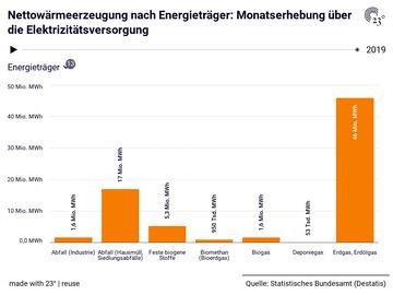 Nettowärmeerzeugung nach Energieträger: Monatserhebung über die Elektrizitätsversorgung