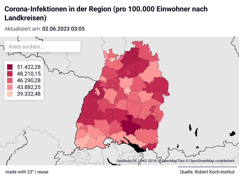 Corona-Infektionen in der Region (pro 100.000 Einwohner nach Landkreisen)