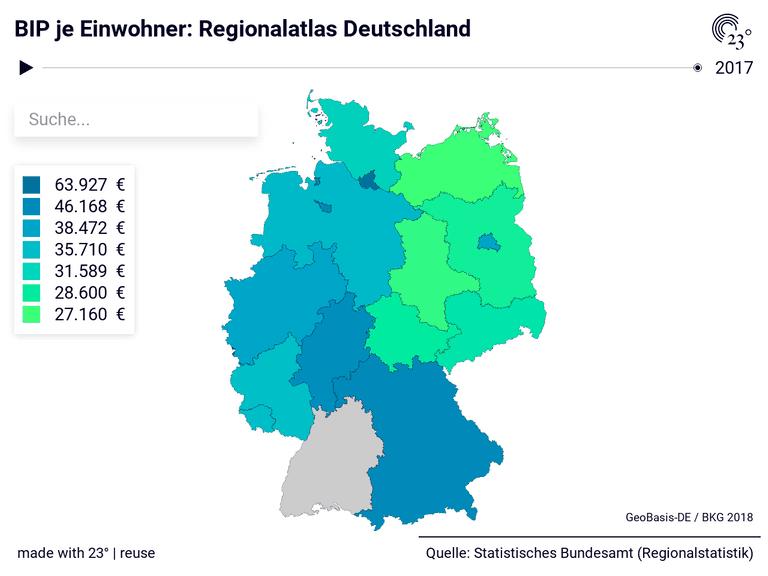 BIP je Einwohner: Regionalatlas Deutschland