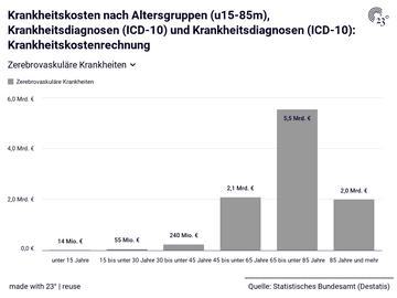 Krankheitskosten nach Altersgruppen (u15-85m), Krankheitsdiagnosen (ICD-10) und Krankheitsdiagnosen (ICD-10): Krankheitskostenrechnung