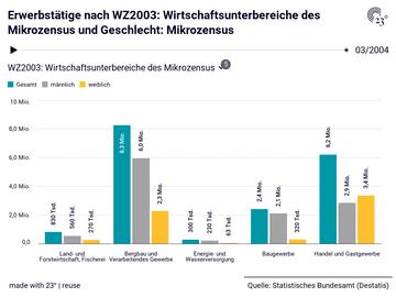 Erwerbstätige nach WZ2003: Wirtschaftsunterbereiche des Mikrozensus und Geschlecht: Mikrozensus