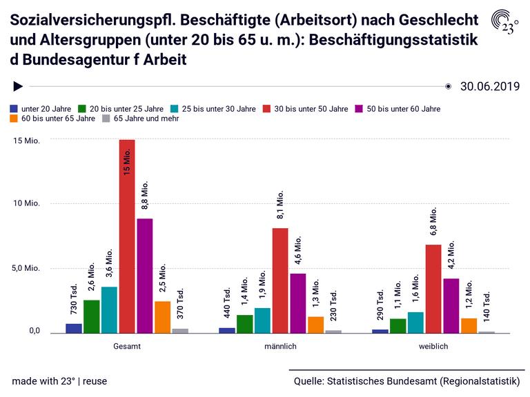 Sozialversicherungspfl. Beschäftigte (Arbeitsort) nach Geschlecht und Altersgruppen (unter 20 bis 65 u. m.): Beschäftigungsstatistik d Bundesagentur f Arbeit